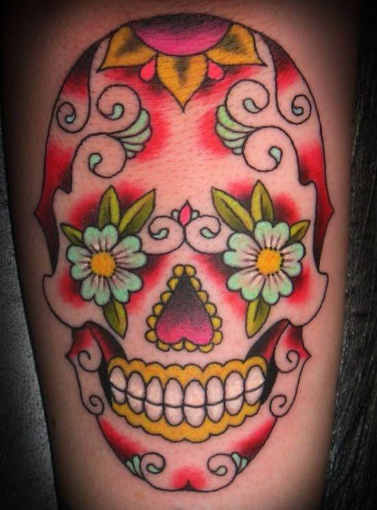 açcar_crnio_desenho_de_tatuagem_de_flor