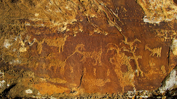 Petroglyphs, including tethered sheep
