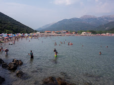 'Jaz Beach': a typical beach in Montenegro, full of people.