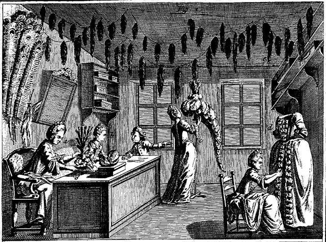 Atelier de plumassier au 18e siècle
