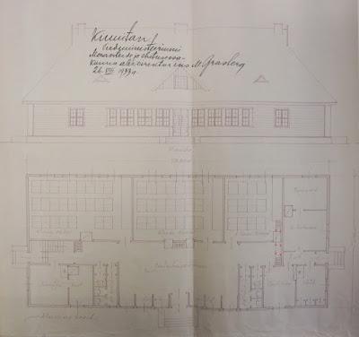 Загривье.Общий вид и план проекта школы, 1933 г.