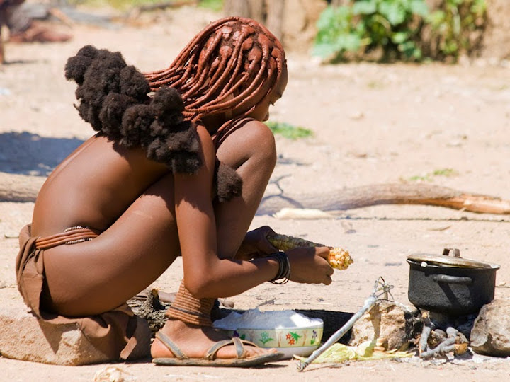 Namibia Himba Young Girl Cooking