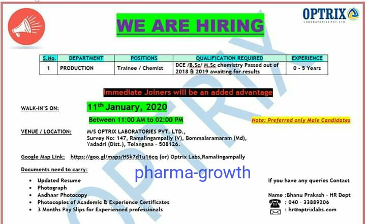 Optrix Pharma - Walk in interview for Production - Fresher & Experienced Candidates on 11th Jan 2020