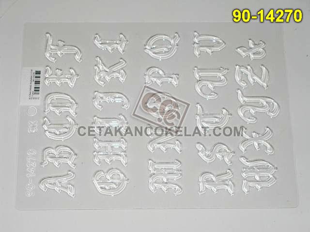 90-14270 cetakan coklat cokelat huruf alfabet abjad
