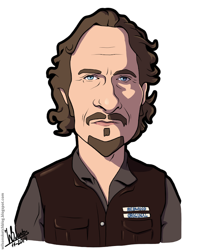 Cartoon caricature of Kim Coates as Tig Trager from the Sons of Anarchy.