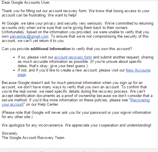 Gmail account hacked and two-step verification information