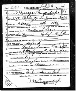 Mervyn Gunzendorfer WWI reg page 1