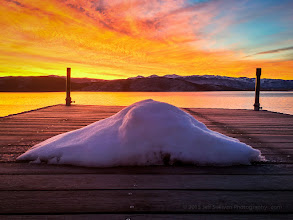 Photo: Snowman's last stand, sunrise at Topaz lake on the California/Nevada border.