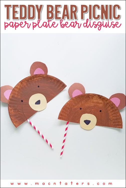 Paper Plate Bear Disguise Masks for A Teddy Bear Picnic. A fun activity to go along with the book The Teddy Bears Picnic