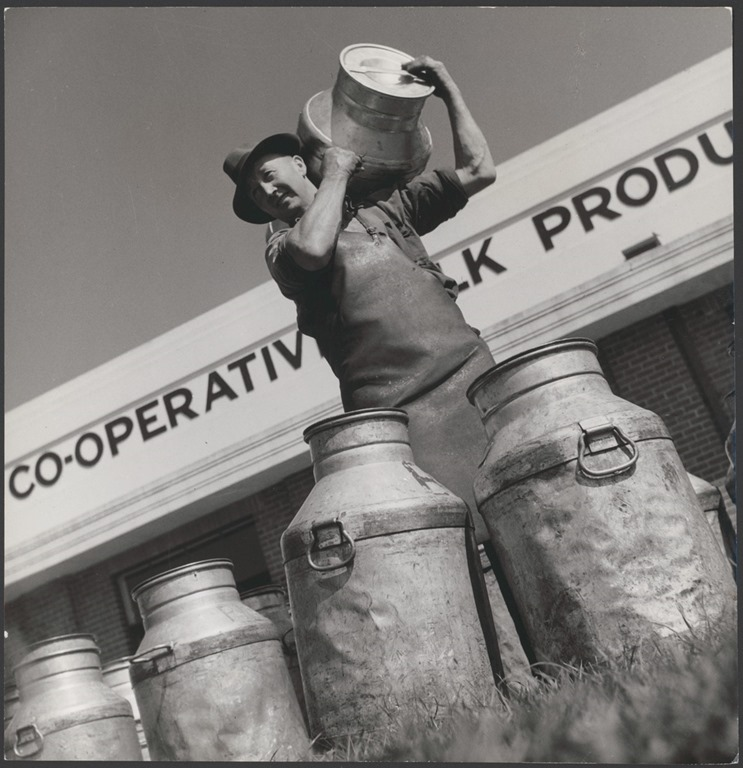 [Milk_carrier_Frederick_%28Fred%29_Jones_delivers_full_milk_cans_at_Drouin%27s_co-operative_milk_factory%2C_Drouin%2C_Victoria_%286174078402%29%5B1%5D]