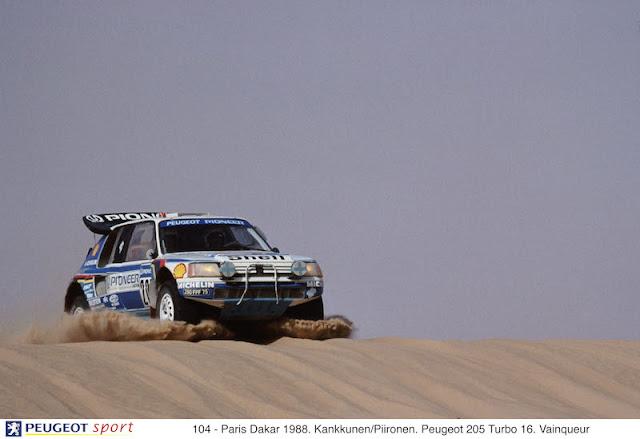 104 - Paris Dakar 1988. Kankkunen/Piironen. Peugeot 205 Turbo 16. Vainqueur