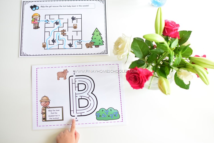 FREE Letter B for Bear Mazes