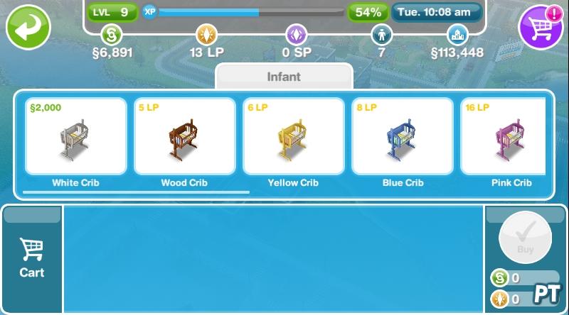 The Sims FreePlay crib