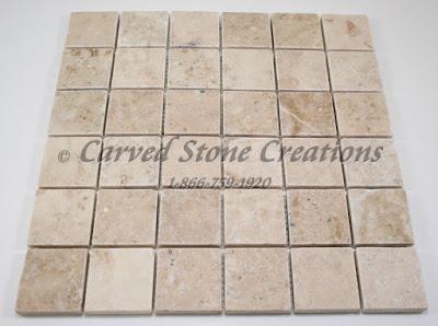 2x2 Crema Cappucino Marble Tumbled Mosaic