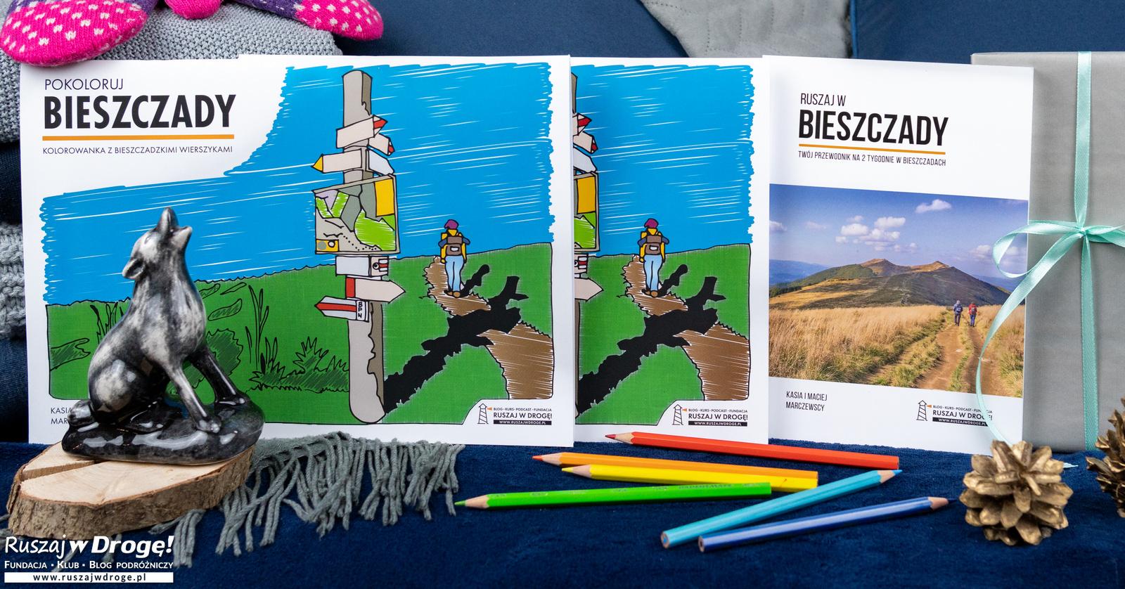 ZESTAW: Przewodnik Ruszaj w Bieszczady + 2x Kolorowanka Pokoloruj Bieszczady