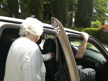 Mom and Dad getting in car headed for lunch
