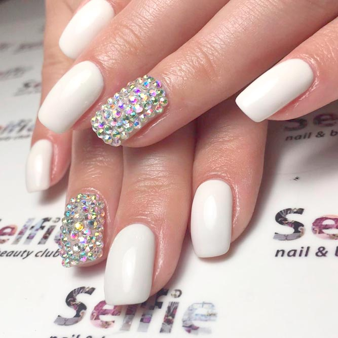 Top 65 Pretty White Nails With Glitter Shapes trendy designs 2018 ...