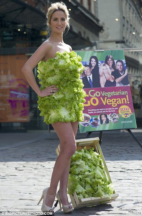 65d77d1e84 Yep, it's made from lettuce! I had to do a double take when I saw this  advertisement for PETA. Quite creative. First Lady Gaga and her dress made  from raw ...