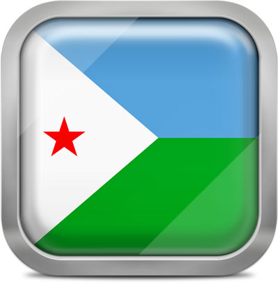 Djibouti square flag with metallic frame
