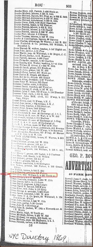 Rowan Ann 1869 city directory