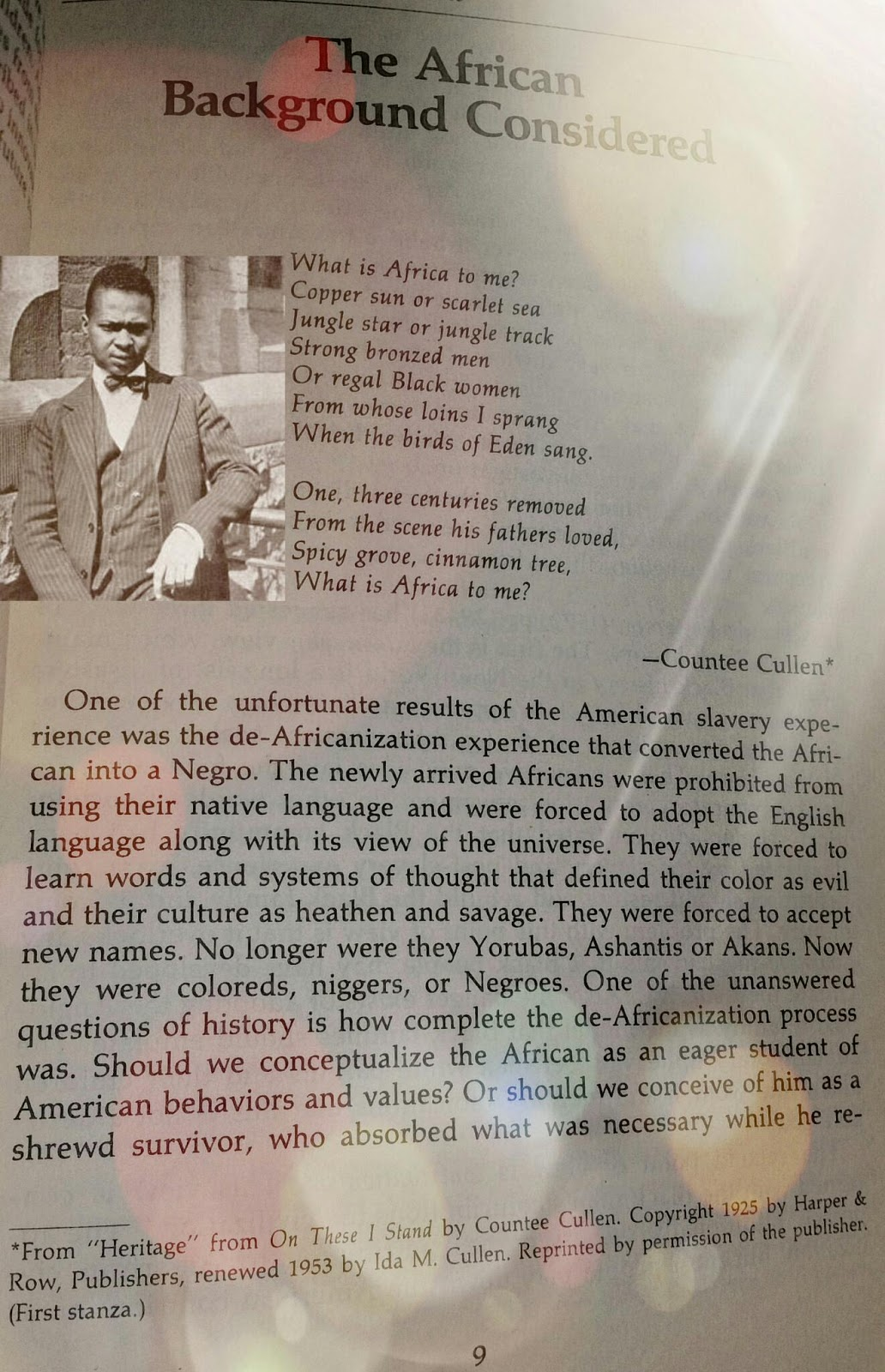 heritage what is africa to me by countee cullen Heritage is a famous poem by countee cullen what is africa to me:copper sun or scarlet sea,jungle star or jungle track,strong bronzed men, or regal blackwomen from.