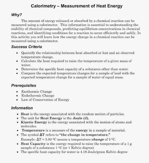 Tom Schoderbek Chemistry: Calorimetry POGIL