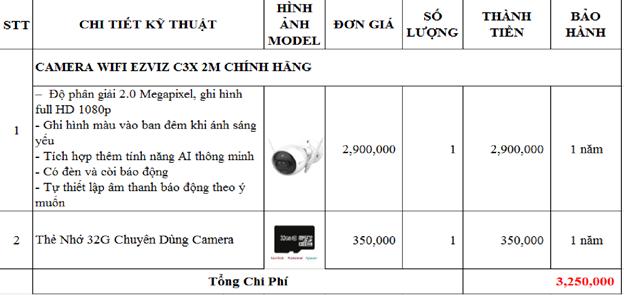 Bảng giá lắp đặt camera wifi Ezviz C3X tại Quận 12