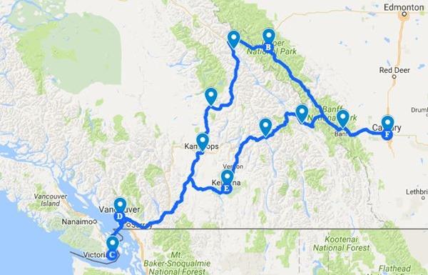 Kanada_Reiseroute