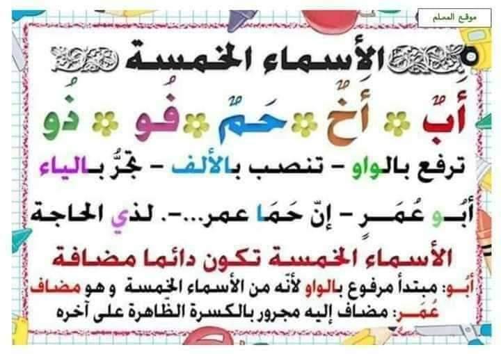 ملخص قواعد اللغة العربية التعليم FB_IMG_1598779227853