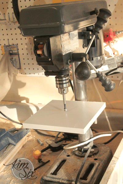 Using drill press on mdf shelf