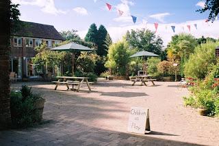 The car-free Mazzard Farm courtyard