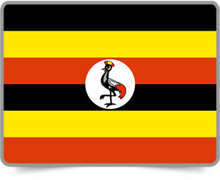 Ugandan framed flag icons with box shadow