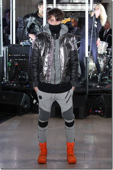 NEW YORK, NY - FEBRUARY 13:  A model walks the runway wearing look #49 for the Philipp Plein Fall/Winter 2017/2018 Women's And Men's Fashion Show at The New York Public Library on February 13, 2017 in New York City.  (Photo by Thomas Concordia/Getty Images for Philipp Plein)