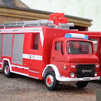 This Cararama/Schuco emergency tender began life with a Mercedes Actros sleeper cab which was not very authentic and in any case got damaged when it fell off my display shelf! To make the model look more typical of a UK appliance, I replaced it with this resin Dodge Commando cab from Road Transport Images as just about every brigade in the country had at least one of these vehicles.