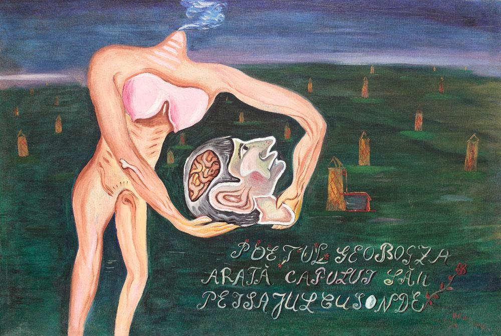 Victor Brauner - Poetul Geo Bogza arată capului său peisajul cu sonde