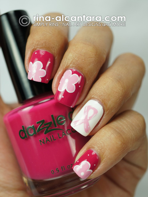 Pink Ribbon and Flowers