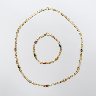 14K Gold & Multi Colored Stone Necklace & Braclet