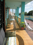 Main balcony with ocean view - guests welcome!