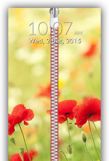 Flower Zipper Lock Screen