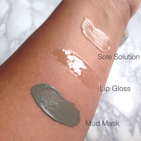 Nu Skin Swatches Mud Mask, Lip Gloss and Sole Solution