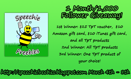 Speechie Freebies 1 Month 1000 Follower Giveaway