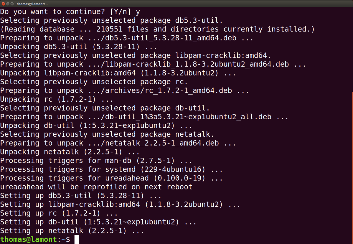 The Ubuntu Terminal installs netatalk and returns to the Terminal prompt