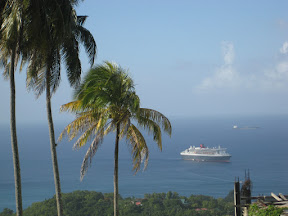 Queen Mary 2 anchored off of St. Lucia