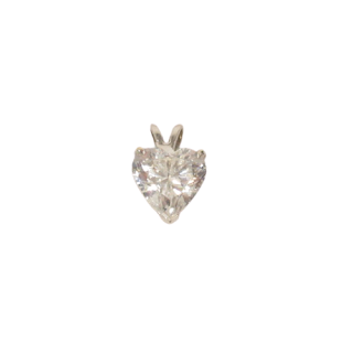 14K White Gold and Clear Stone Pendant