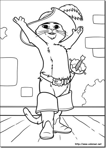 colorear dibujo gato con botas