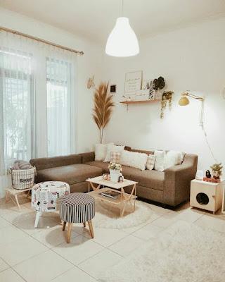 Desain Ruang keluarga nuansa krem