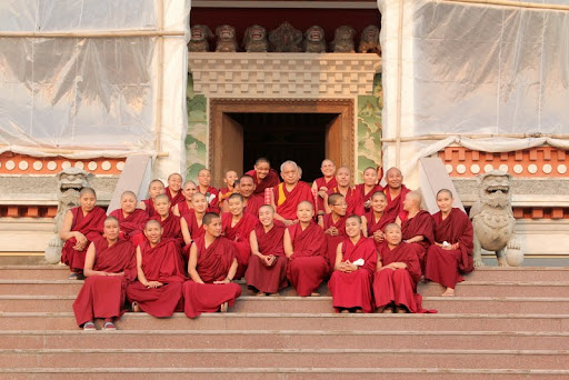 Staff of Khachoe Ghakyil Nunnery with Lama Zopa Rinpoche, Nepal, May 2012. Photo by Ven. Roger Kunsang.
