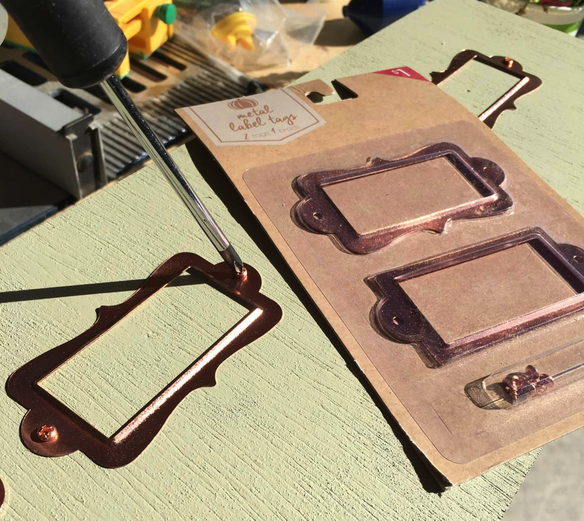 Copper metal tag holders