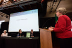 Gloria Jim from The Dalles, Ore., gives testimony at the first of three public hearings at the Cowlitz County Regional Event Center in Longview, Wash., on May 24, 2016, concerning the proposed Millennium Bulk Terminals coal export terminal. (Photo by: Alex Milan Tracy)