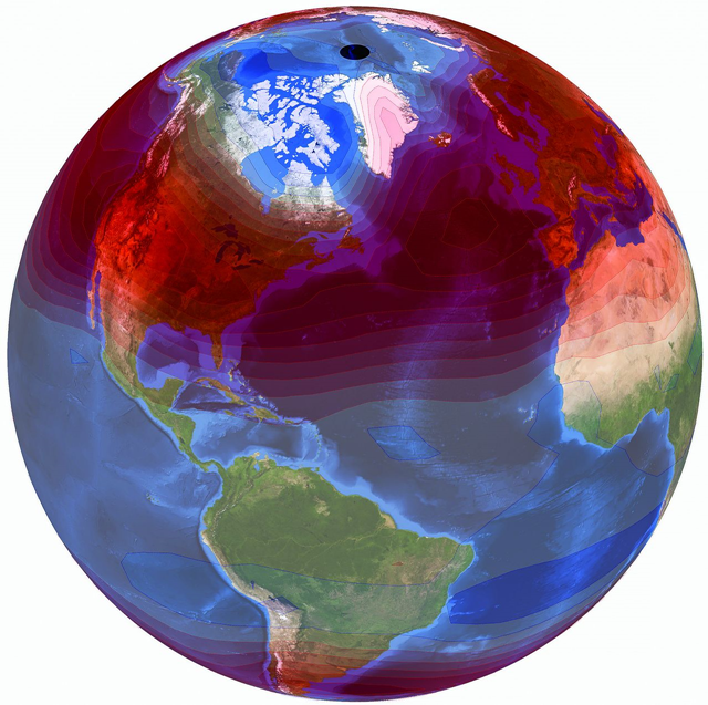 """Trends in the amplitude of the annual cycle of tropospheric temperature. Trends are calculated over 1979 to 2016 and are averages from a large multimodel ensemble of historical simulations. The most prominent features are pronounced mid-latitude increases in annual cycle amplitude (shown in red) in both hemispheres. Similar mid-latitude increases occur in satellite temperature data. Trends are superimposed on NASA's """"blue marble"""" image. Graphic: Santer, et al., 2018 / Science"""